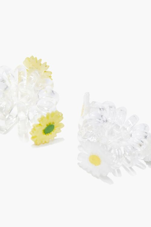 YELLOW/MULTI Floral Spiral Hair Ties, image 2