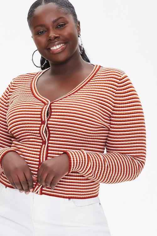 Plus Size Striped Cardigan Sweater, image 1