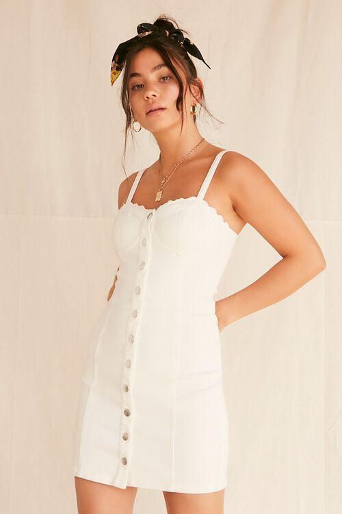 Lace-Trim Buttoned Denim Dress, image 1