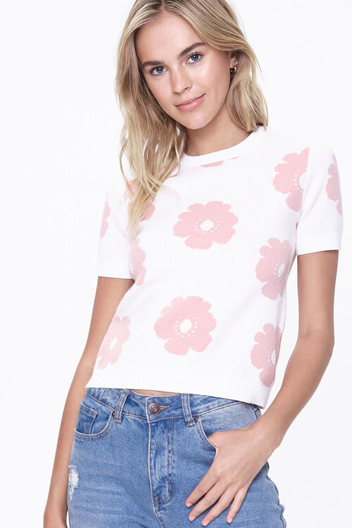 CREAM/MAUVE Floral Sweater-Knit Top, image 1