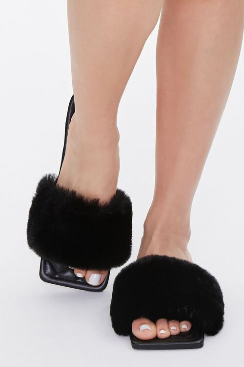 Faux Fur Quilted Slippers, image 4