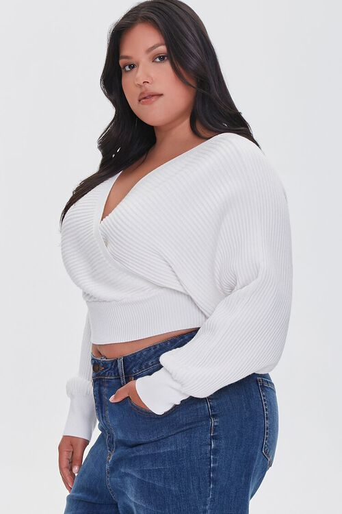 Plus Size Ribbed Surplice Sweater, image 3