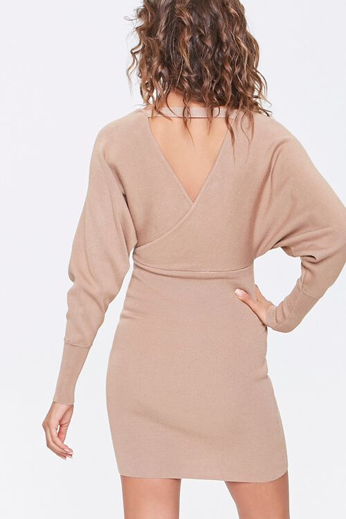 Surplice Mini Sweater Dress, image 3