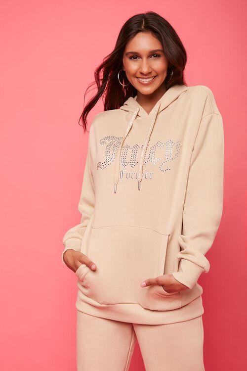 TAN/MULTI Juicy Couture Rhinestone Fleece Hoodie, image 1