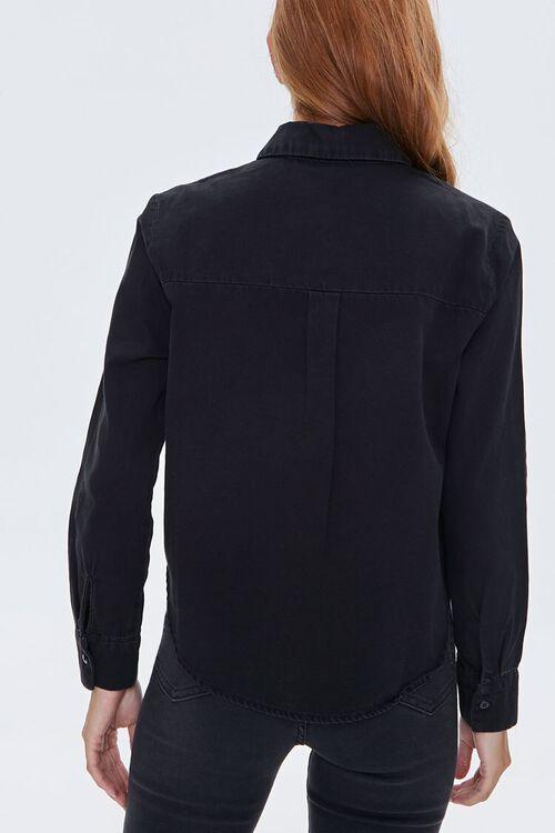 Denim Curved-Hem Shirt, image 3