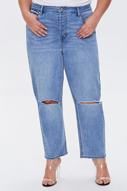 Plus Size Distressed Straight Jeans, image 2