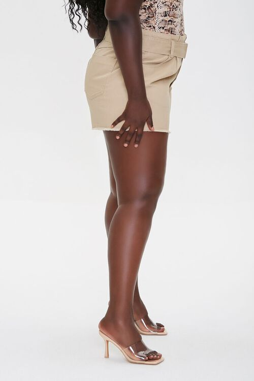 Plus Size Belted High-Rise Shorts, image 3