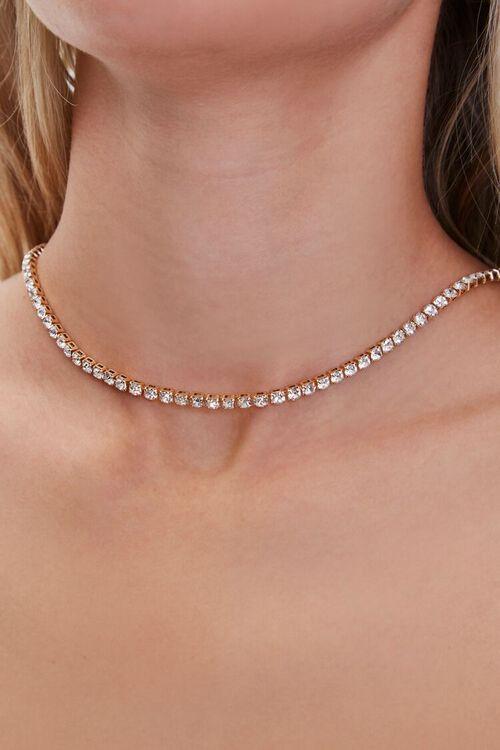 Rhinestone Box Chain Necklace, image 1