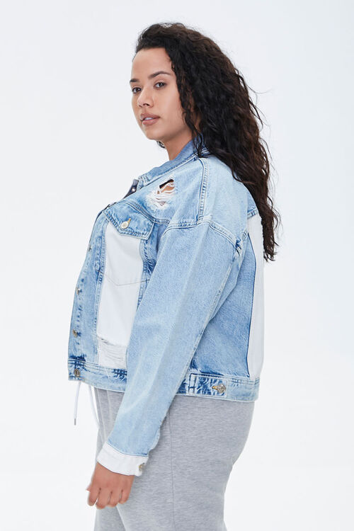 Plus Size Colorblock Denim Jacket, image 2