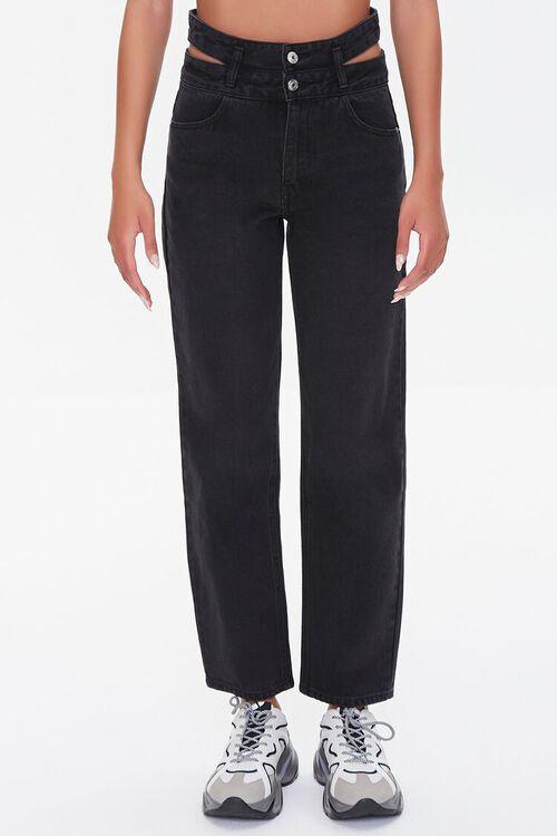Cutout Straight-Leg Jeans, image 2