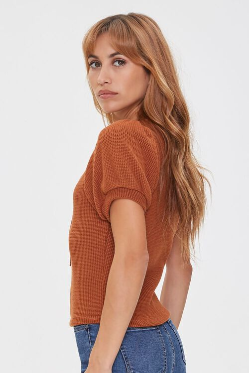 Ribbed Knit Lace-Up Top, image 2