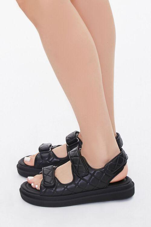 Buckled Quilted Platform Sandals, image 2
