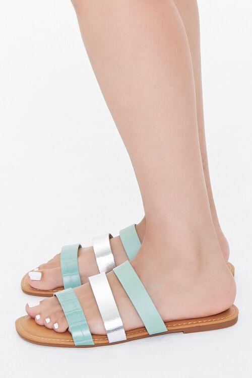 Metallic-Strap Flat Sandals, image 2