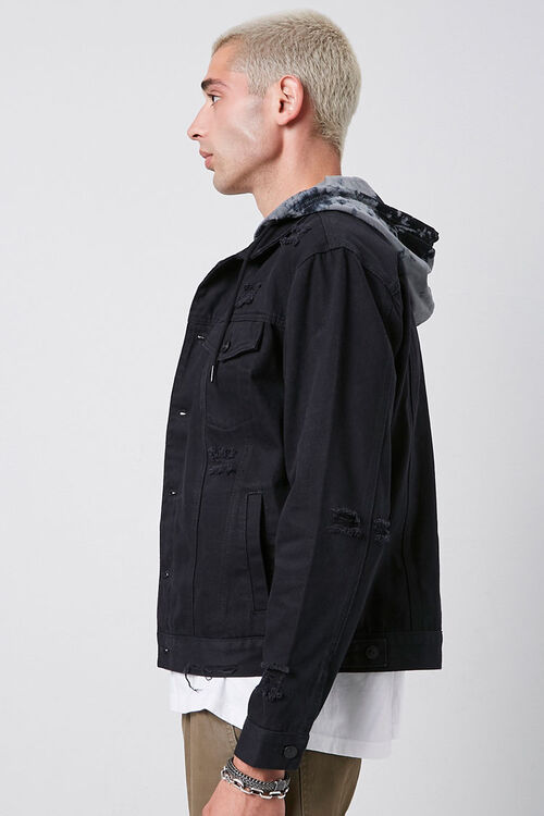 Tie-Dye-Hooded Stonewashed Denim Jacket, image 2