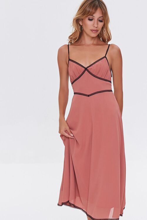 Chiffon Lace-Trim Dress, image 1