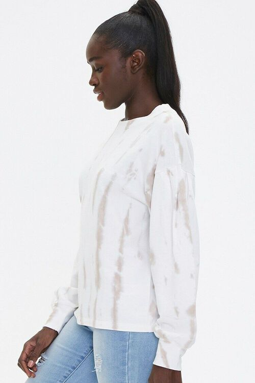 TAUPE/WHITE Tie-Dye Wash Pullover Top, image 2