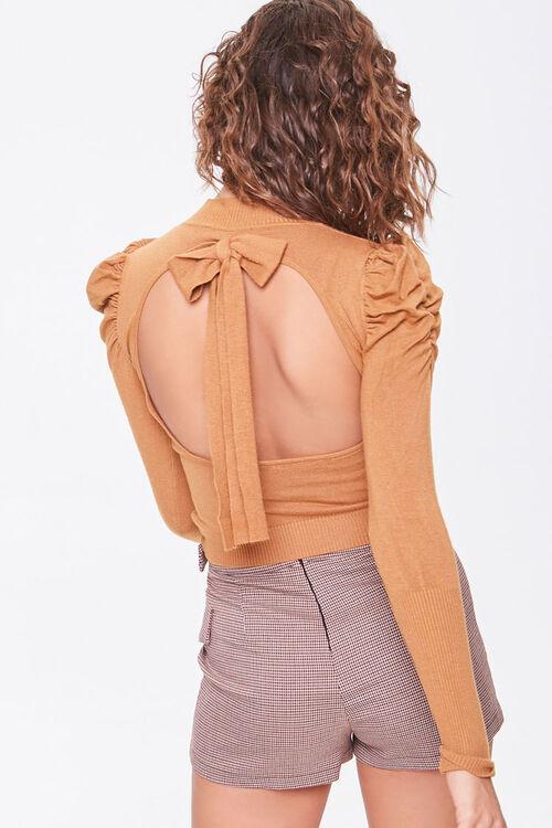 Tie-Back Mock Neck Sweater, image 3