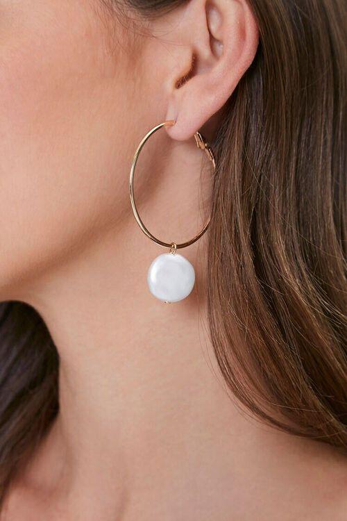 Faux Pearl Charm Earrings, image 1