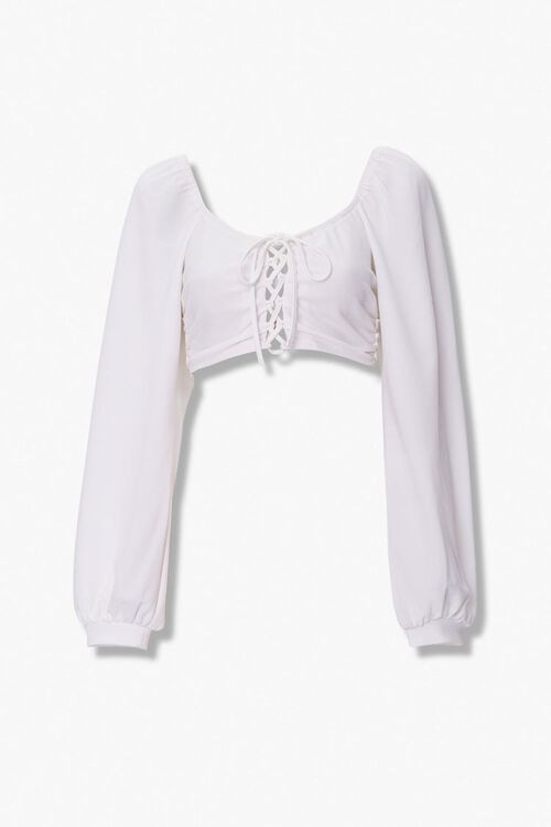 Lace-Up Peasant Crop Top, image 1