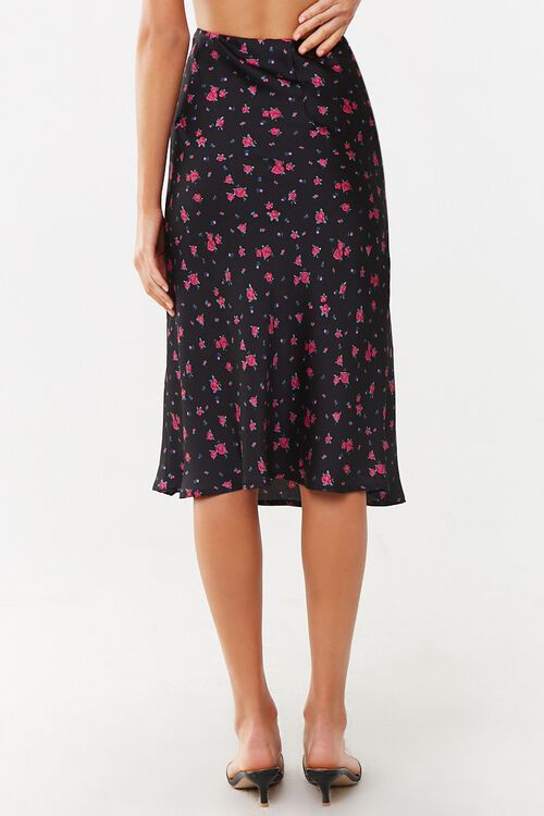 BLACK/MULTI Rose Floral Print Skirt, image 4