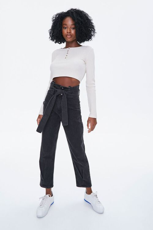 Waffle Knit Henley Crop Top, image 4