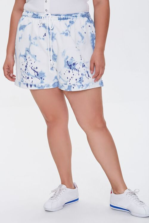 Plus Size Bleached Denim Shorts, image 2