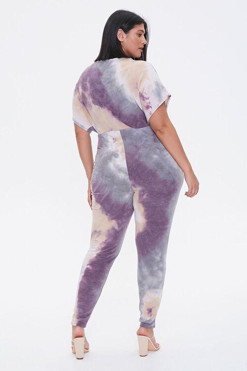 Plus Size Tie-Dye Surplice Jumpsuit, image 3