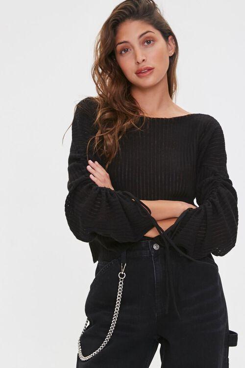 Shadow-Striped Drawstring Sweater, image 1