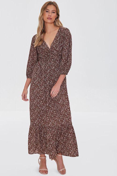 BROWN/MULTI Floral Print Maxi Dress, image 4