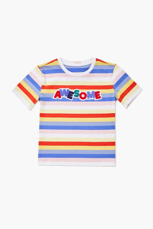 Girls Awesome Graphic Striped Tee (Kids), image 1