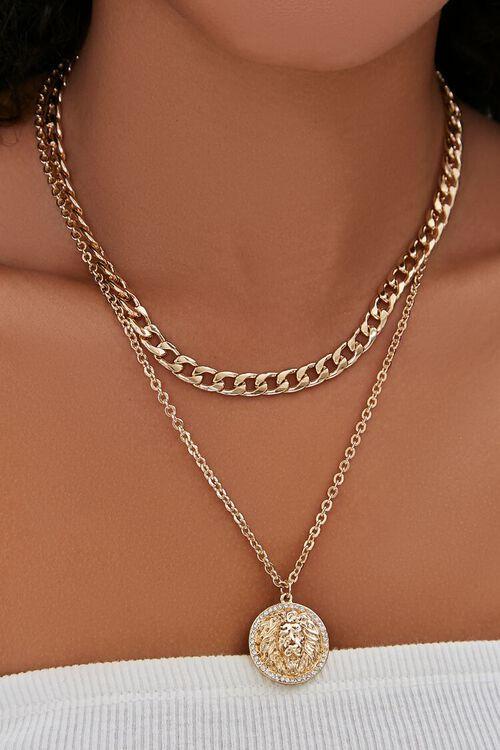 GOLD Lion Pendant Layered Necklace, image 1