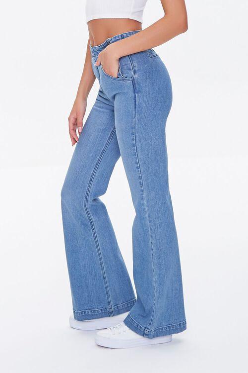 MEDIUM DENIM Button-Side Flare Jeans, image 3