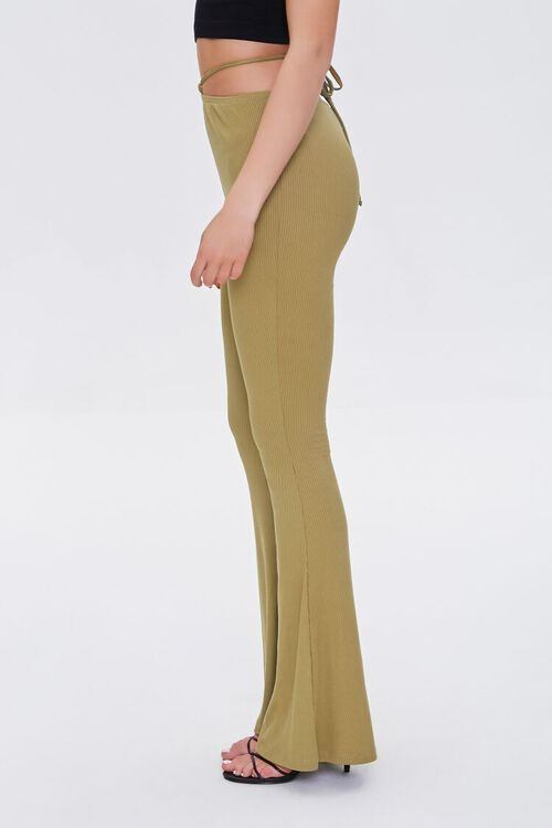 OLIVE Ribbed Knit Self-Tie Flare Pants, image 3