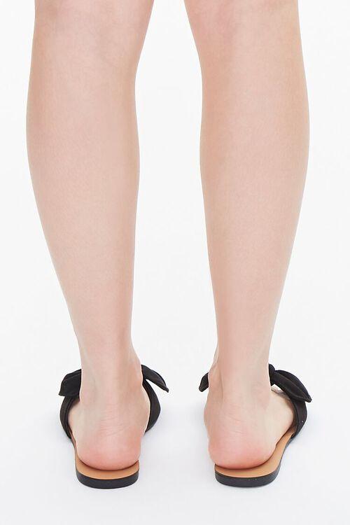 BLACK Faux Suede Bow Sandals (Wide), image 3