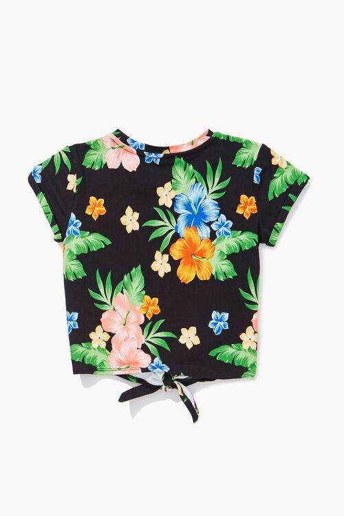 Girls Tropical Print Knotted Tee (Kids), image 2