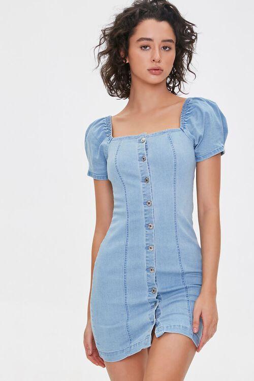 Chambray Puff-Sleeve Sheath Dress, image 1