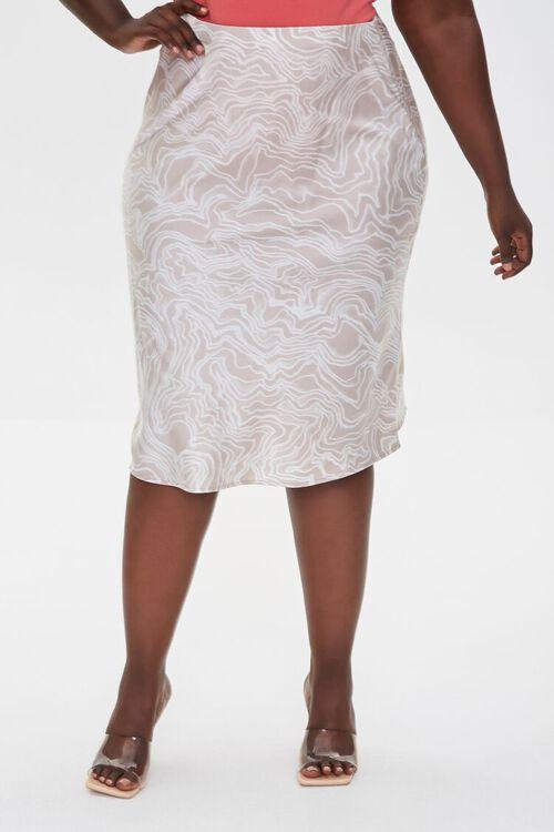 Plus Size Satin Line Art Skirt, image 2