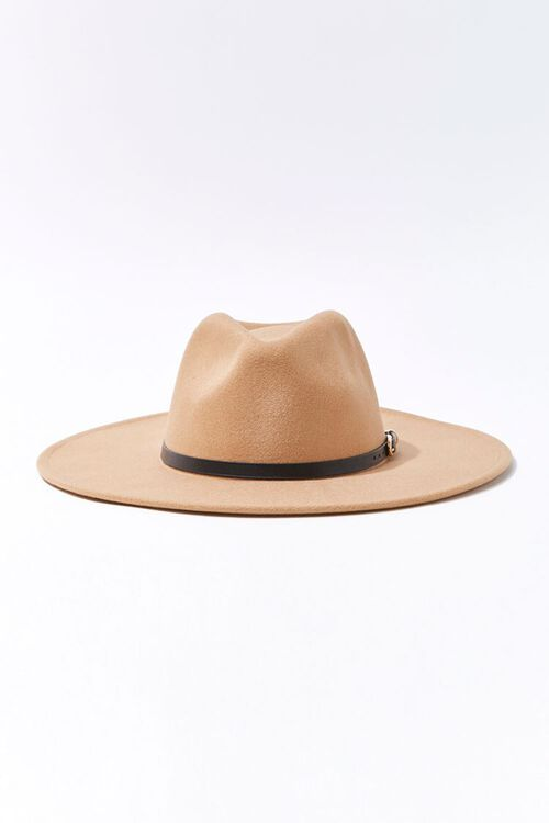 Faux Leather-Trim Fedora, image 1