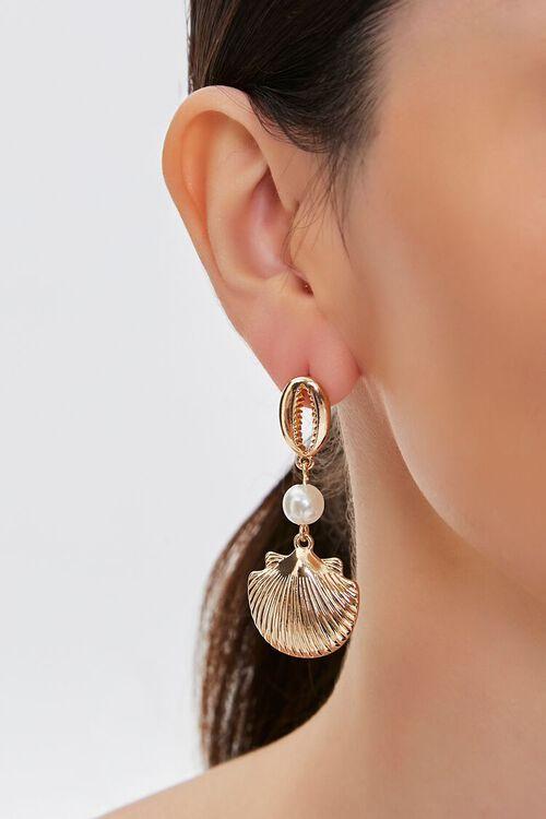 GOLD Seashell Pendant Drop Earrings, image 1
