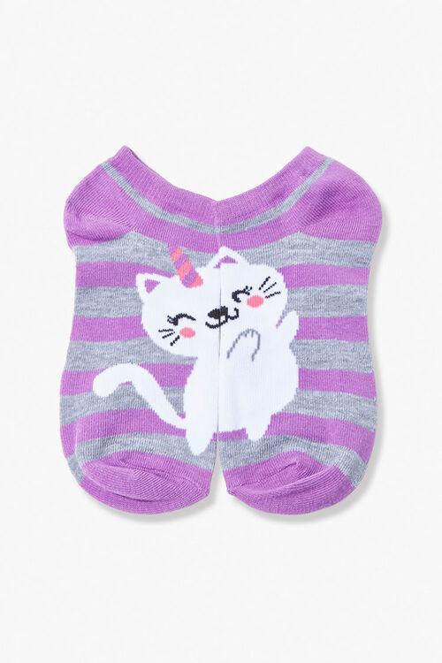 PURPLE/MULTI Unicorn Cat Ankle Socks, image 2