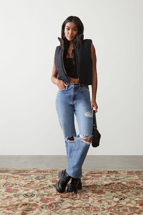 MEDIUM DENIM Premium Distressed 90s-Fit Jeans, image 1