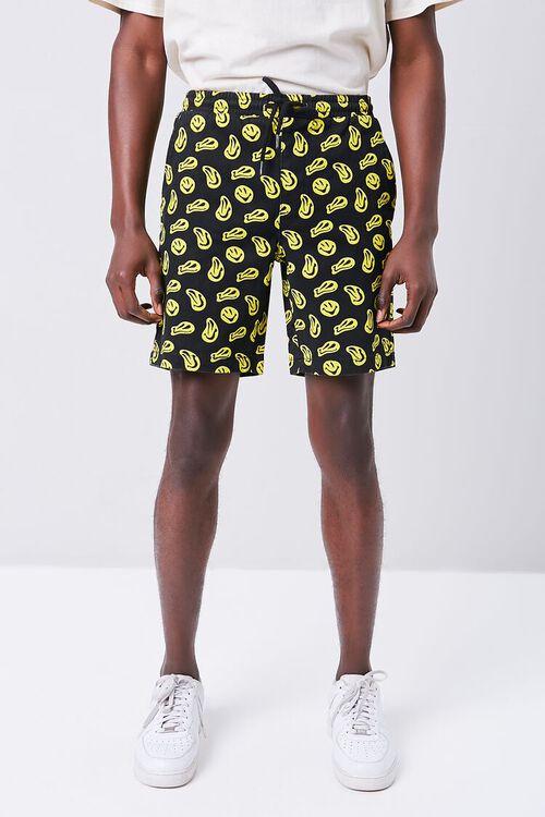 BLACK/YELLOW Smiling Face Print Drawstring Shorts, image 2