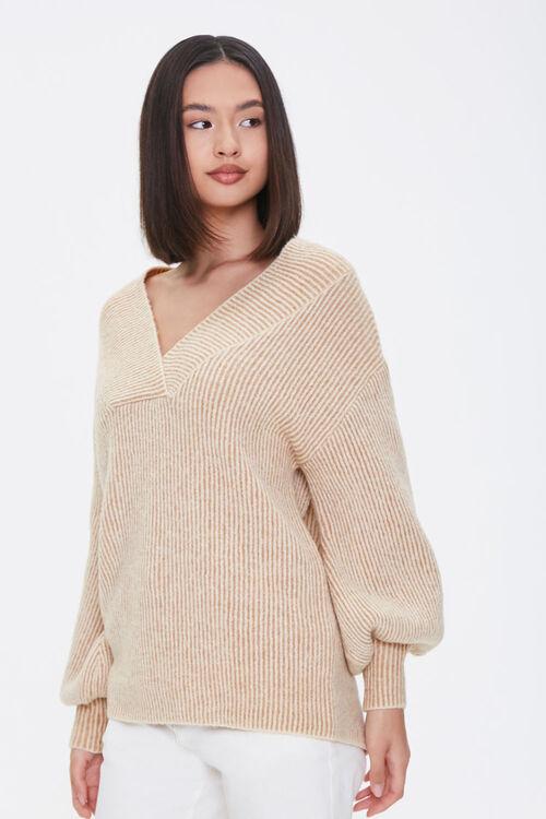 Ribbed Surplice Sweater, image 1