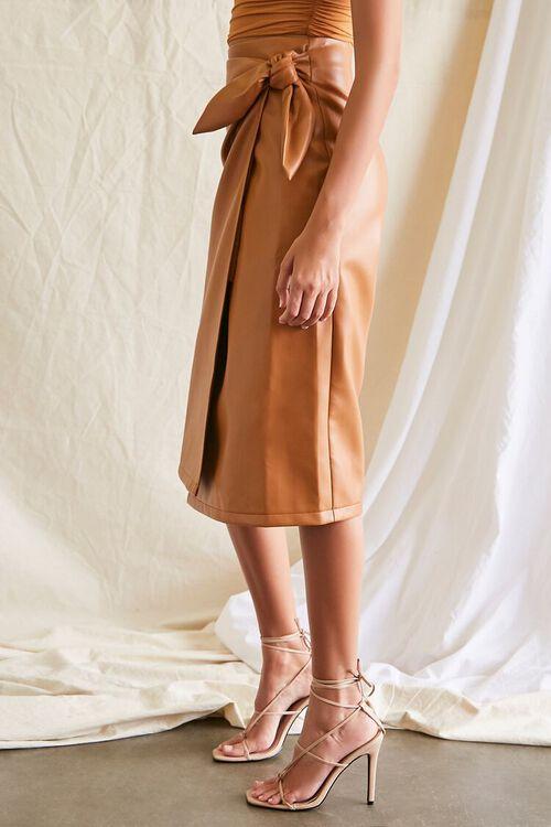 Faux Leather Midi Skirt, image 3