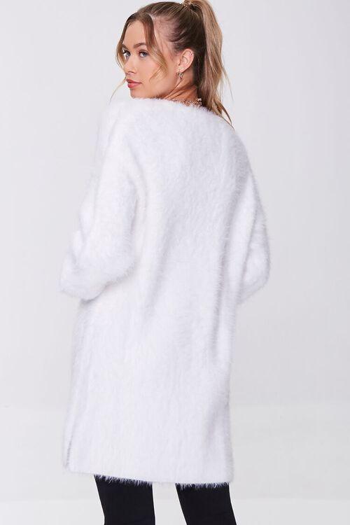 WHITE Fuzzy Knit Cardigan Sweater, image 3