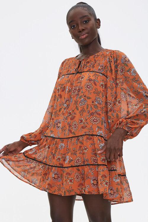 Floral Print Peasant Dress, image 1