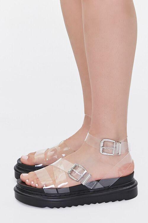 Transparent Dual-Buckle Flatform Sandals, image 2