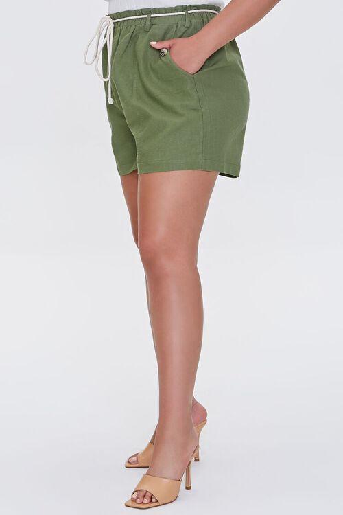 Plus Size Paperbag Linen-Blend Shorts, image 3