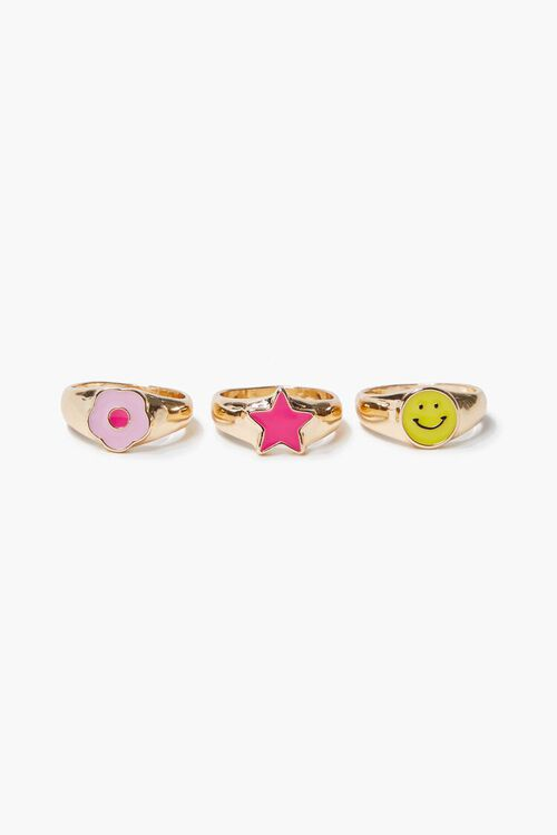 Assorted Happy Face Ring Set, image 2