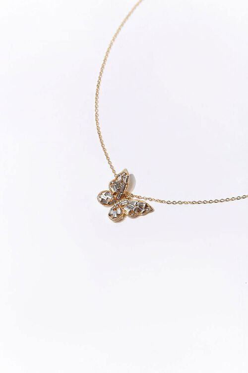 Rhinestone Butterfly Pendant Necklace, image 2